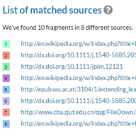 Liste gefundener Quellen